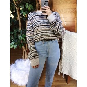 Sweaters - 🌿 Cozy Retro Printed Woven Knit Sweater 🌿